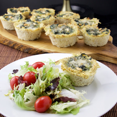 Mini Low Carb Cauliflower Spinach Tarts