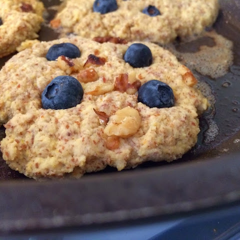 Flaxseed Blueberry Walnut Pancakes