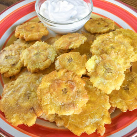 Tostones (Twice-fried Plantains) with Spicy Garlic Dill Aioli