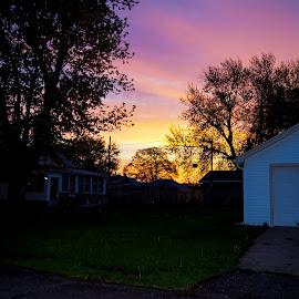 Sun Rise by Gary Wahle - City,  Street & Park  Neighborhoods ( sun rise,  )
