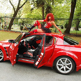 Leesha Luv atop her rockin' red RX8 by Mick Tobyn - Transportation Automobiles ( long legs, model, beautiful, leggy, beauty, cute, pretty, babe, hottie, glamourous, sensual, glamour, sexy, girl, gorgeous, woman, stylish, outdoors, hot, legs, hotty,  )