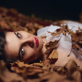 The fifth season  by Dragos Enache - People Portraits of Women ( fashion, the look, season, fall, beautiful eyes, green eyes, leaf, drama, shadows, automn )