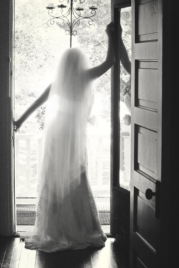 Awaiting the rest of my life by Amanda Whitley - Wedding Bride ( chandelier, sunset, dress, wedding, door, veil, bride, light, balcony, sun, grove )