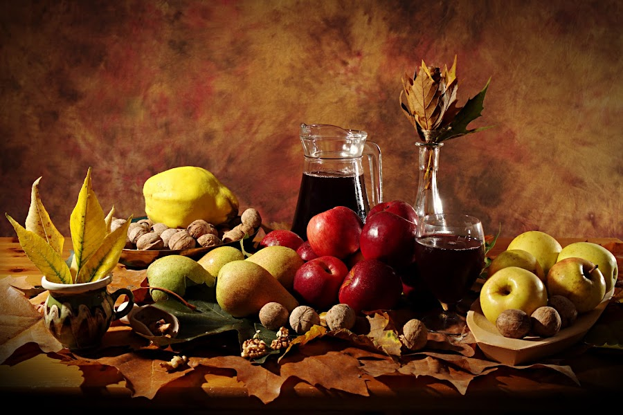 Still autumn by Nicu Buculei - Artistic Objects Still Life ( wine, autumn, fruits, fall, leaves,  )