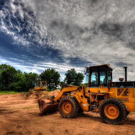 Old CAT by Kimberly Taylor - Transportation Other ( farm, clouds, sky, farmland, equipment, storm, construction )
