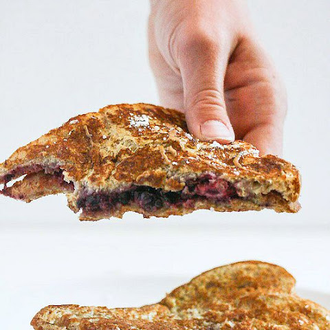 Smashed Blackberry and Peanut Butter French Toast Sandwich