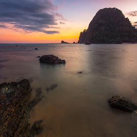Twilight at Red Island by Ade Noverzan - Landscapes Waterscapes ( sunset, twilight, beach, rocks, island )
