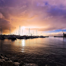 Port sunset  by Agustin Alonso - Landscapes Sunsets & Sunrises ( #hdr #sunset #landscape #sea #sky #colours )
