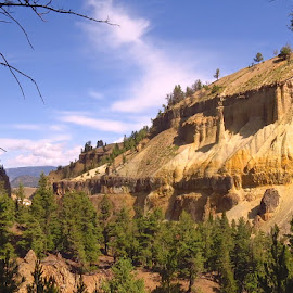 Yellowstone River Bluff by Marilyn Kircus - Landscapes Caves & Formations ( montana, volcanic remains, rivers, yellowstone river )