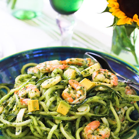 Chimichurri Cucumber Noodles with Shrimp, Avocado & Hearts of Palm