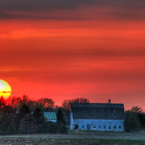 Red Sunset by Alex Heimberger - Landscapes Sunsets & Sunrises ( sunset, weather, landscape )