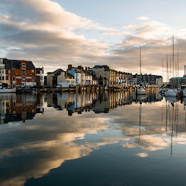 Weymouth harbour reflections by Noel Wittin - City,  Street & Park  Historic Districts ( water, morning light, harbour, boats, still )