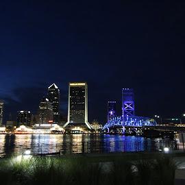 Jacksonville by Night by Dave Boyer - City,  Street & Park  Skylines ( water, lights, jacksonville, skyline, florida, night )