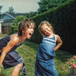 One More Time... Nope by Nick Goetz - Babies & Children Children Candids ( sisters, yard, sprinkler, summer, fun )