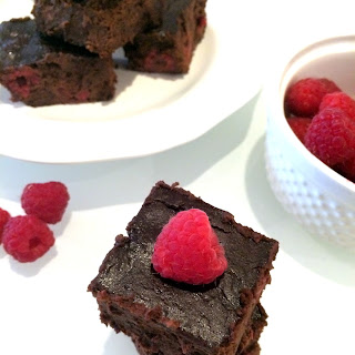 Dark Chocolate Raspberry Black Bean Brownies