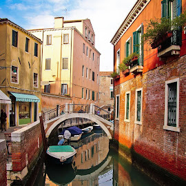 Venice Bridge by Jen Tiffan - City,  Street & Park  Street Scenes