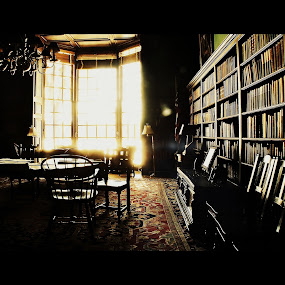 The Gardner Room  by MarySue Price - Buildings & Architecture Architectural Detail ( books, groton school, sunset, library books, library, sunrays, old room, gardner room, groton, antiques )