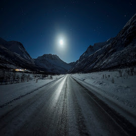 Moon by Jens Andre Mehammer Birkeland - Landscapes Mountains & Hills ( mountain, winter )