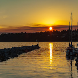 End to a Perfect Day by Garry Dosa - Landscapes Waterscapes ( water, sailboats, waterscape, sunset, brown, yellow, landscape, sun, golden )