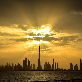 Sunset on the Dubai skyline by Mehul V - City,  Street & Park  Skylines ( burj khalifa, sunset, cityscape, skyline, dubai )