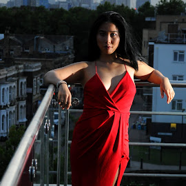An Evening on a London Rooftop by DJ Cockburn - People Portraits of Women ( gherkin, home shoot, off-camera flash, street, road, rooftop, red dress, chinese, st mary axe, asian, city, london, skyscraper, woman, mile end, balcony )