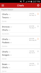 Football Schedule for Chiefs - screenshot