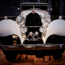 1931 Bugatti 41 Royale by Tina Stevens - Transportation Automobiles ( car, vintage, automobile, chrome, white, bugatti, front, transportation, 1931, twentient century, luxury, 1930s, headlights, shadow, grille, 20th century, auto, antique )