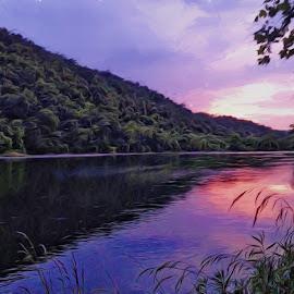 Arkansas Sunset by Allen Crenshaw - Digital Art Places ( white river, sunset, landscape, iphone, photography, arkansas )