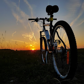 Just me and my bicycle.  by Roxana Craciun - Sports & Fitness Cycling ( bike, sunset )