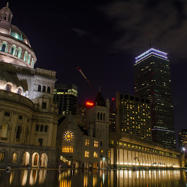 Christian Science Center, Boston, MA by Jennifer Tsang - Buildings & Architecture Places of Worship ( bostonchristian science center, reflection, prudential building, night )