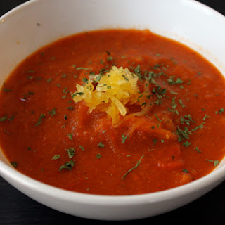 Red Pepper Soup with Roasted Spaghetti Squash
