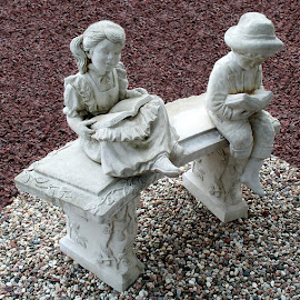 Two Children Reading 1 by RMC Rochester - Buildings & Architecture Statues & Monuments ( abstract, sculpture, colors, art, random, object )