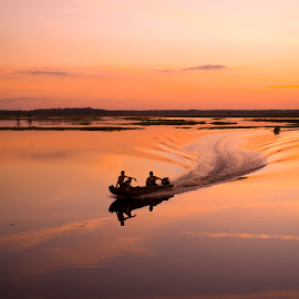 St. Johns River Basin by David Ubach - Landscapes Waterscapes ( calm, water, wake, silhouette, sunset, glassy, boat, dusk, river )