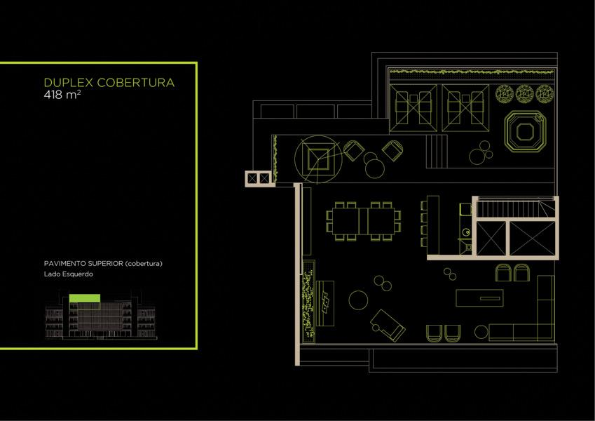 Apto  Cobertura Duplex (42A)  - 418 m² - Piso Superior