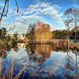 Firbeck Hall by Alec Bonser - Landscapes Waterscapes ( reflection.landscapes.hall.countryside )