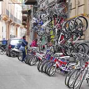 The Bike Parking by Joatan Berbel - City,  Street & Park  Street Scenes ( bike, colors, lifestyle, old town, street photography )