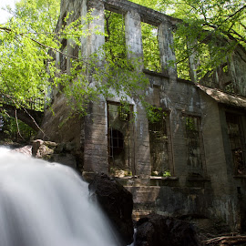 Carbide-Wilson Ruins by Rebecca Roy - Buildings & Architecture Public & Historical ( waterfall, ruins, landscape, historic )