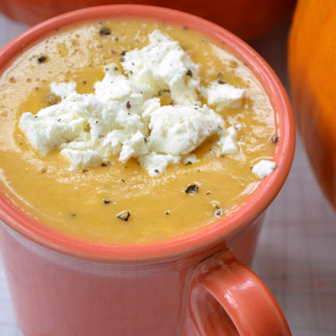 Roasted Pumpkin & Pear Soup with Goat Cheese