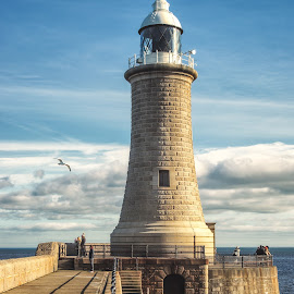 Tynemouth Pier by Adam Lang - Buildings & Architecture Other Exteriors ( clouds, tynemouth pier, lighthouse, sea, coast )
