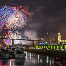 Fireworks by Rony Chidiac - Abstract Fire & Fireworks ( water, reflection, clock tower, firework, colorful, colors, boats, reflections, boat, fire, tower, color, fireworks, bridge, light )