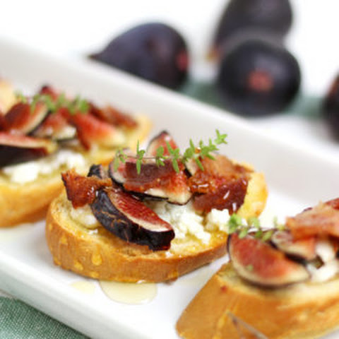 Fig, Goat Cheese, Bacon + Honey Crostini