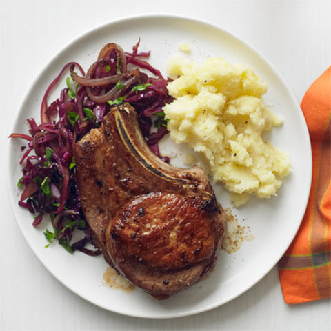 Pork Chops with Balsamic Braised Cabbage