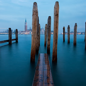 Venice Before Sunrise by Henrik Spranz - Landscapes Travel ( water, clouds, mole, venice, sea, sunrise, morning, italy )
