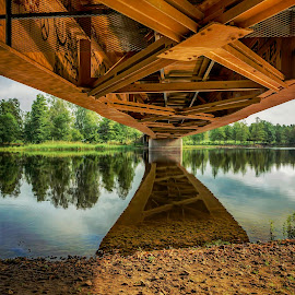 Under the bridge by Kjersti Skistad - Buildings & Architecture Bridges & Suspended Structures ( water, hdr, colorful, colors, reflections, architecture, bridge, landscape, river )