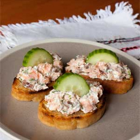 Hot Smoked Salmon Crostini