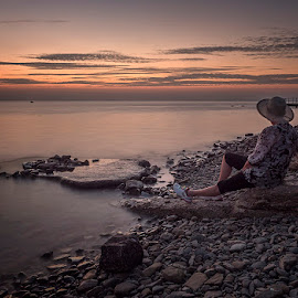 Resting Tome by Jaro Miščevič - Landscapes Beaches ( clouds, skyline, sky, sunset, beautiful, sea, beach, people, colours )