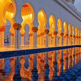 Grand Mosque by Jbern Eugenio - Buildings & Architecture Architectural Detail ( detail, reflection, building, sun set, blue hour, mosque, art, fine art, architecture )