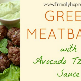Greek Meatballs with Avocado Tzatziki Sauce