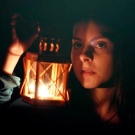 Dark at Night by Carolina Rodrigues - People Portraits of Women ( girl, dark, suspense, cinematic,  )