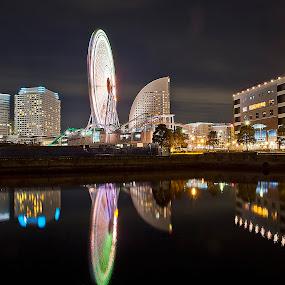 Evening in Minato Mirai by Ketut Pujantara - City,  Street & Park  Amusement Parks ( port.night scene, wheel, minato mirai, yokohama )